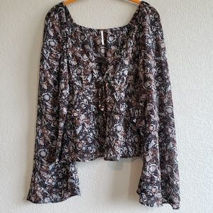 Free People | Sheer Open Front Floral Tie Top XS